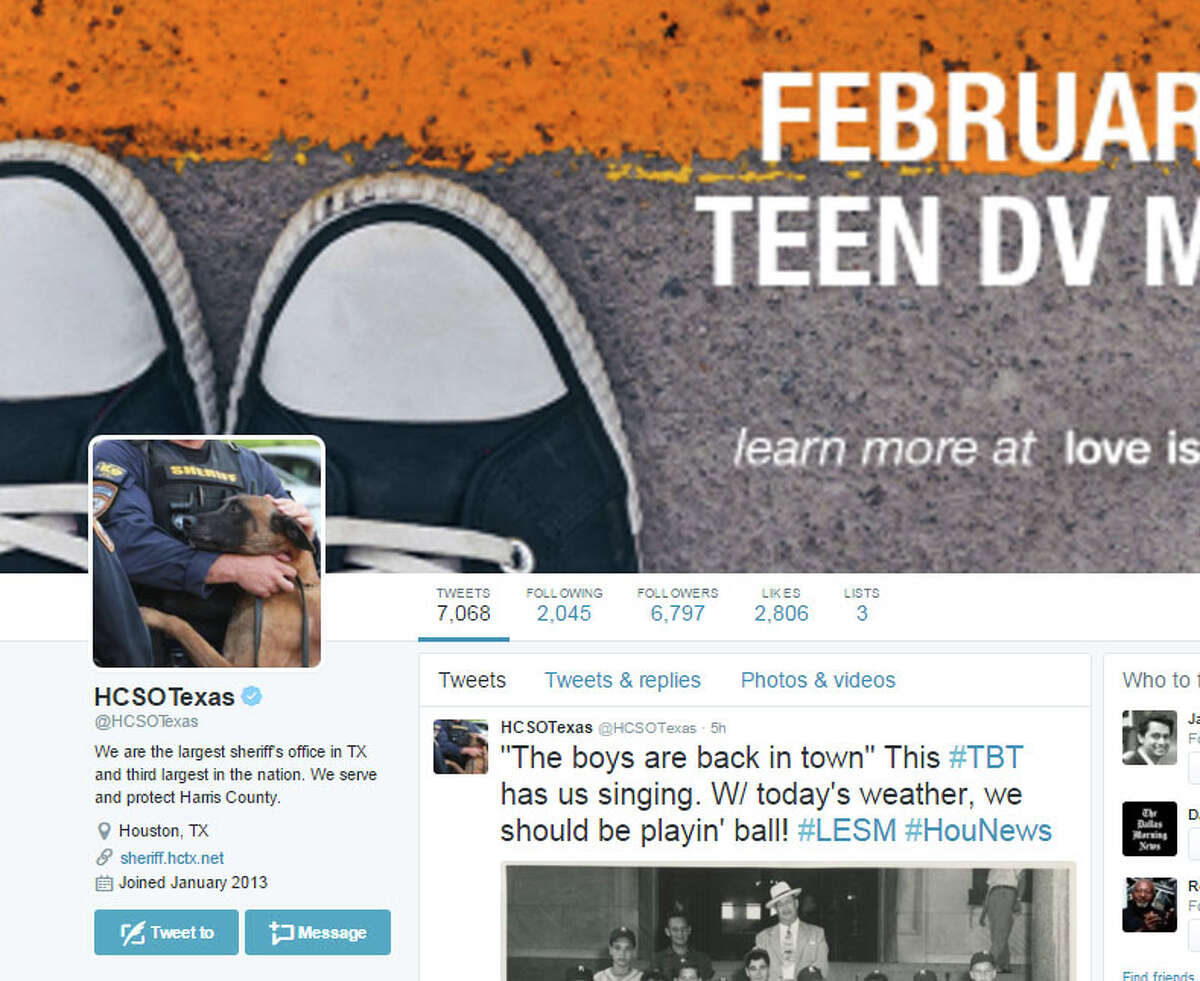 Harris County Sheriff's Office Nearly 7,000 people follow this site which provides a mix of wanted posters, community event posts and cheerful #TBT photos of less crime-filled days.