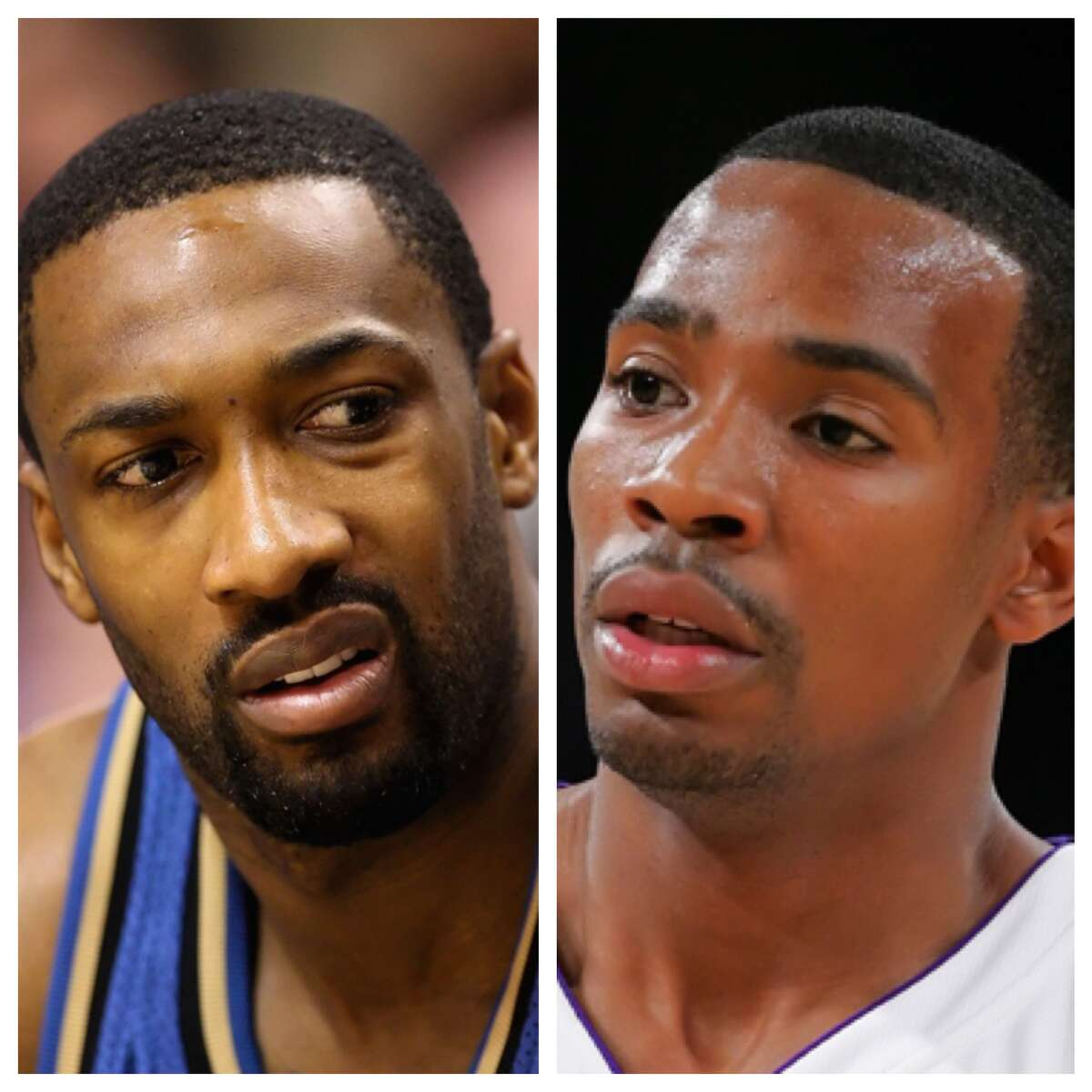 """Gilbert Arenas vs. Javaris Crittenton This involved gun play and ended up with a felony charge for Arenas, and it all started with an argument over cards, according to Arenas. After a dispute on a flight about a card game, Crittenton told Arenas he would shoot him if they were in the streets. Arenas called his bluff and said he'd give him the guns to do it. Two days later, Arenas put four empty guns on Crittenton's chair in the locker room with a note that read """"choose one."""" This infuriated Crittenton, who pulled his own gun. Cooler heads eventually prevailed, but police got involved a week later and Arenas was charged with felony gun possession. In an unrelated incident, Crittenton currently is serving 23 years in prison for his role in a drive-by shooting."""