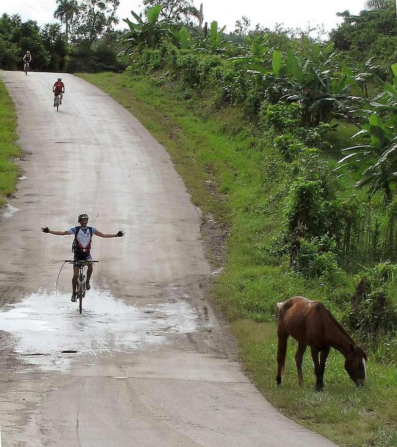 Road hazard, bicycling outside Viñales, Cuba. Photo: Janis Cooke Newman