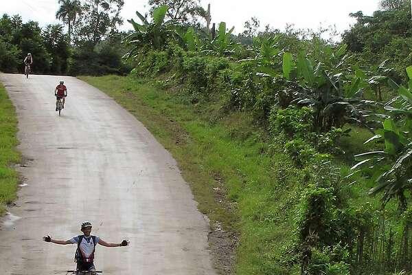 Road hazard, bicycling outside Viñales, Cuba.