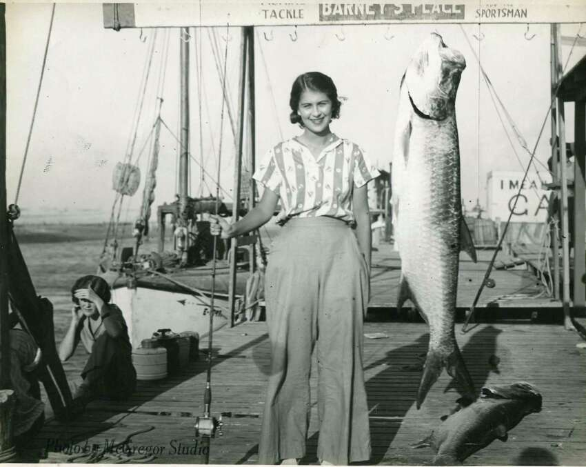 This angler landed a fighting silver king in November 1936.