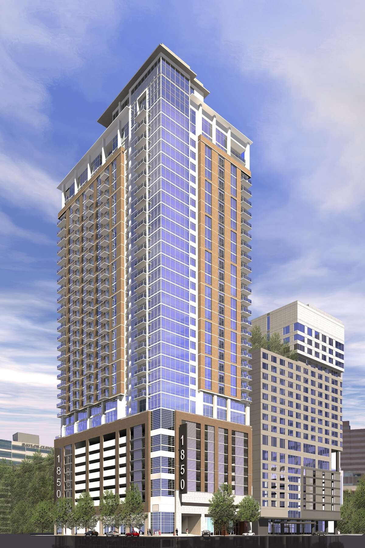 A rendering shows the Ascent Med Center apartment project next to a 357-room hotel. Ascent will offer units from 339 square feet, with students in mind, to large three-bedrooms aimed at higher-income renters.