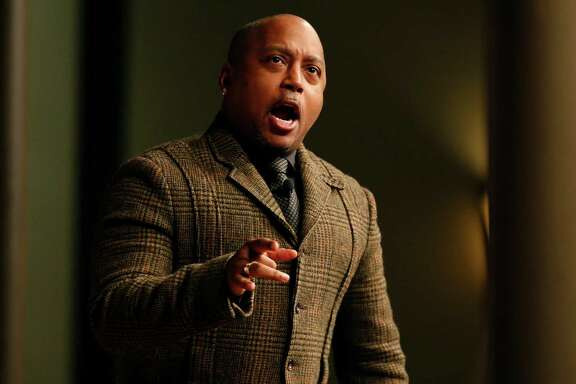Daymond John, founder and CEO of FUBU Clothings and star on ABC-TV show Shark Tank, presents at the Forum on Entrepreneurship breakfast series at the Pearl Stable on Thursday.