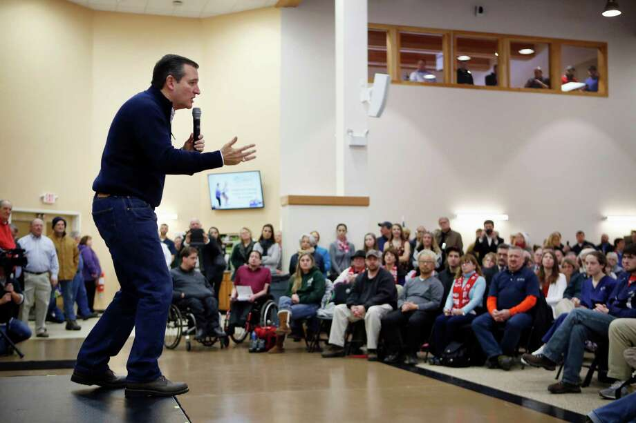 Republican presidential candidate, Sen. Ted Cruz, R-Texas speaks at a town hall-style campaign event, Monday, Feb. 8, 2016, in Barrington, N.H. (AP Photo/Robert F. Bukaty) Photo: Robert F. Bukaty, STF / Associated Press / AP