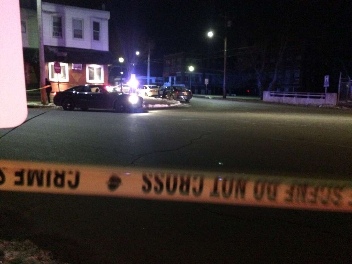 Police on the scene of a shooting in Bridgeport at the corner of Stratford and Connecticut avenues.