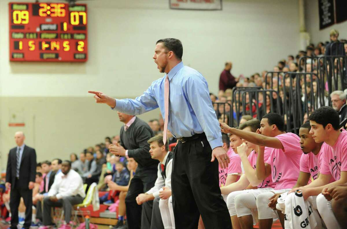 Fairfield Warde Head Coach Jeff Seganos of Fairfield Warde in action during a game against Fairfield Ludlowe at Fairfield Warde High School on February 11, 2016 in Fairfield, Connecticut.