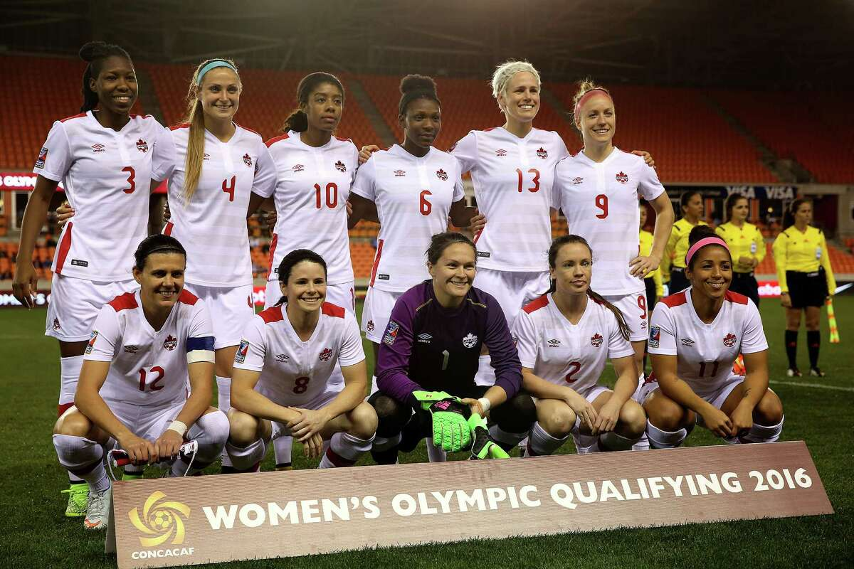 Starters for Canada's CONCACAF Women's Olympic team pose for a photo before their game against Guyana at BBVA Compass Stadium on Thursday, Feb. 11, 2016, in Houston. Canada won the game 5-0.