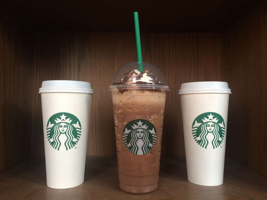 The trio of Molten Chocolate Drinks from Starbucks. From left to right: the Molten Chocolate Latte, Molten Chocolate Frappuccino and the Molten Hot Chocolate. Photo: Dianne De Guzman / SFGATE