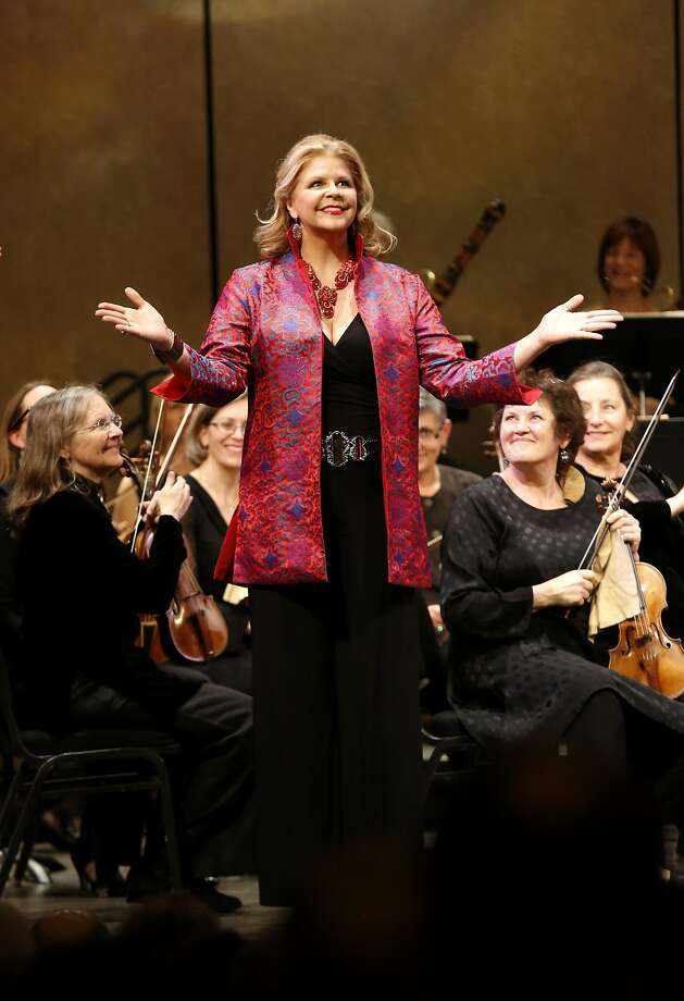 Susan Graham soaks up the applause after she walked on stage during a concert celebrating the 30th anniversary of the Philharmonia Baroque Orchestra's music director Nicholas McGegan at Herbst Theatre in San Francisco, California, on Thursday, Feb. 11, 2016. Photo: Connor Radnovich, The Chronicle