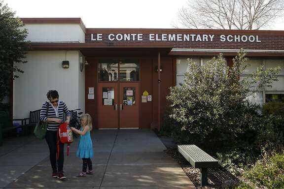 Cancun Sotorosen picks up her daughter Amaris Sotorosen, 5, after school. Le Conte  is amongst several schools across the country considering a name change. Thursday, Feb. 11, 2016