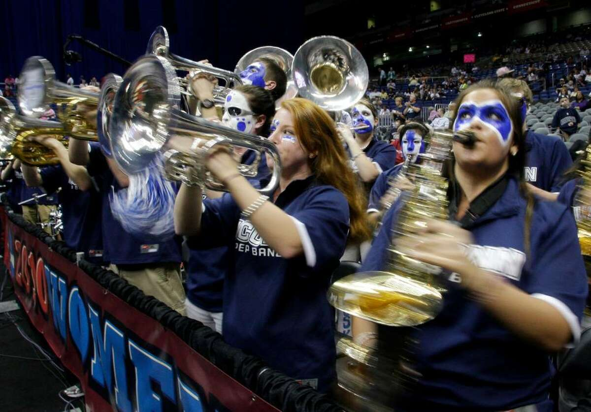 The Connecticut band performs before the start of the the women's NCAA Final Four college basketball championship game against Stanford Tuesday, April 6, 2010, in San Antonio. (AP Photo/Sue Ogrocki)