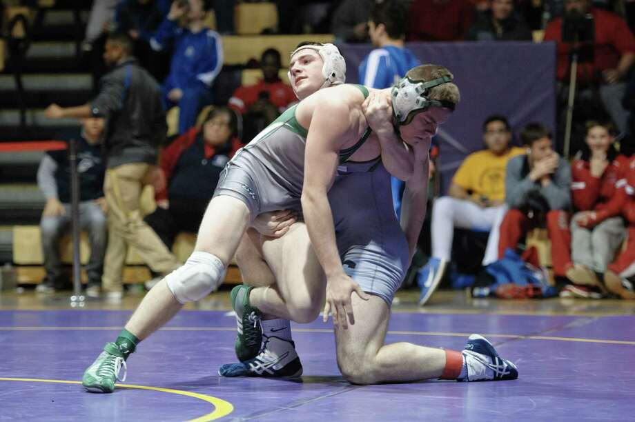 Dylan Dubuque of Columbia goes against Shenendehowa's Dustin Bruhns during the High School Wrestling finals held at Ballston Spa High School Saturday, February 6th, 2016. (Eric Jenks/ Special to the Times Union) Photo: Eric Jenks / Eric Jenks 2015