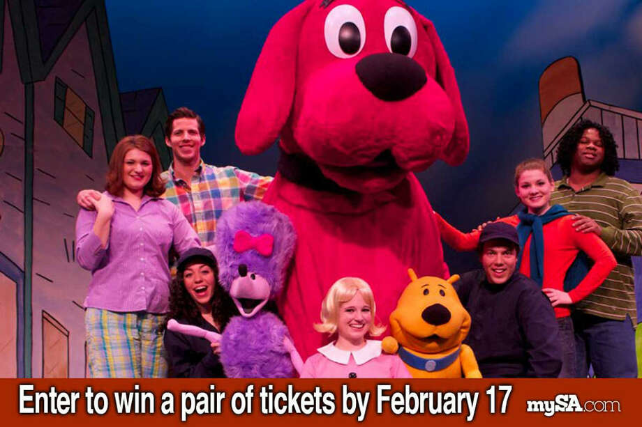 """Enter from Feb. 12 to Feb. 17 for your chance to win a free pair of tickets to the Tobin Center for the Performing Arts showing of """"Clifford the Big Red Dog Live!"""" on Feb. 19."""