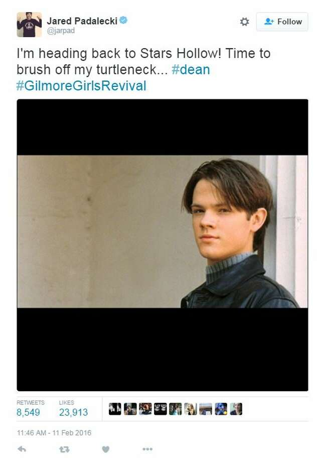 "Actor Jared Padalecki tweeted that he will be returning for the Netflix-powered revival of the hit show ""Gilmore Girls."" Photo: Twitter, Courtesy"