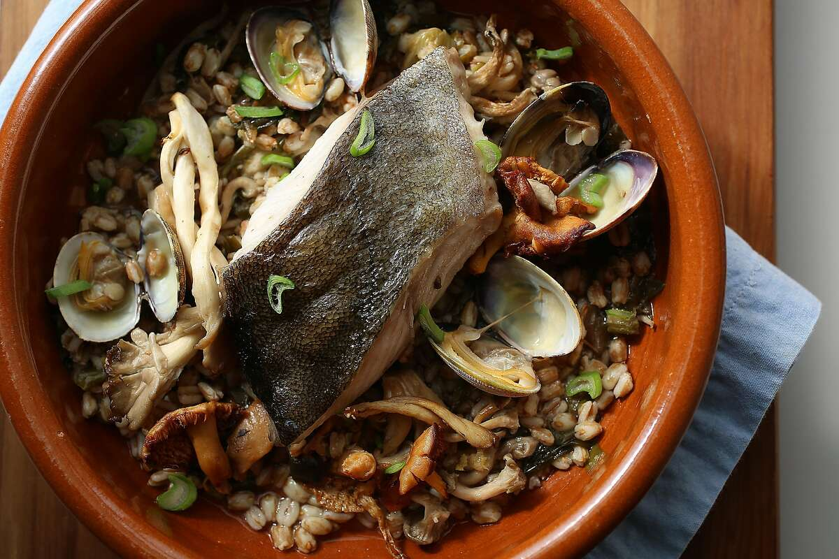 Black Cod in a Clay Pot with farro, seaweed, wild mushrooms and clams, a recipe from Molina restaurant in Mill Valley.