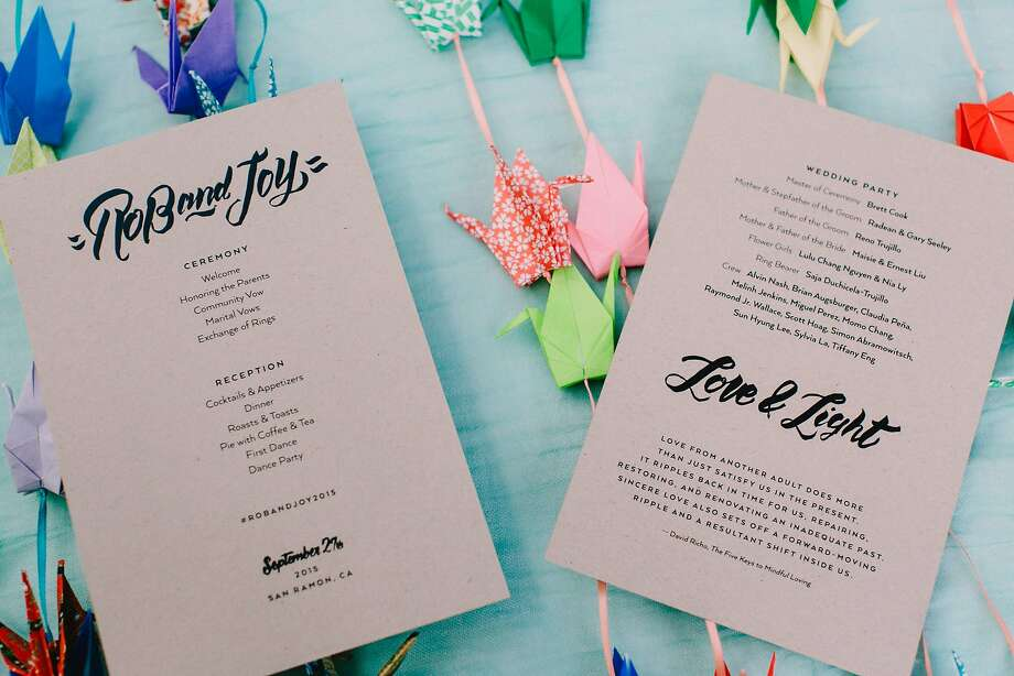 The programs for Oakland couple Joy Liu and Robert Trujillo's wedding. She is a graphic artist who designed the invitations; Robert hand-lettered them. Photo: Andria Lo