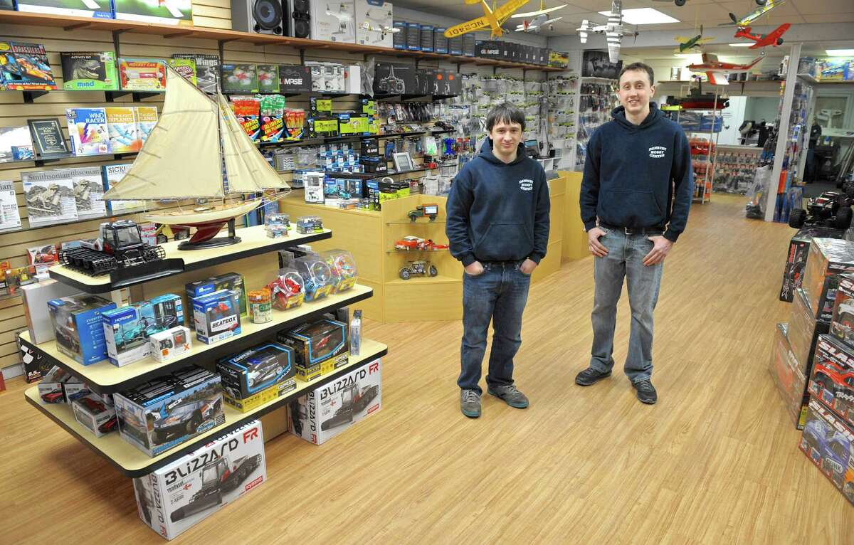 Brothers Tyler, left, and Jason Hanna are the new owners of Danbury Hobby Center's Hobby Shop. Thursday, February 11, 2016, in Danbury, Conn.