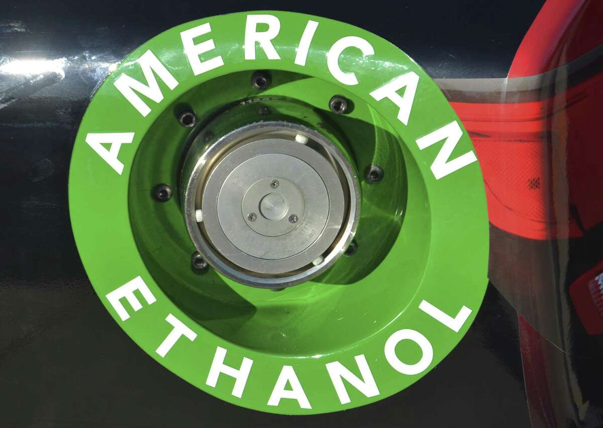 File photo of an American Ethanol label is shown on a NASCAR race car gas tank at Texas Motor Speedway in Fort Worth, Texas.
