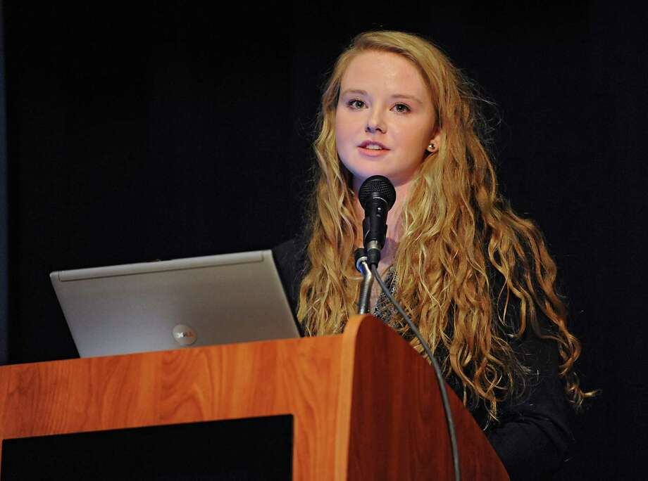 Senior Anna Wysocki acts as spokesperson during an emergency press conference at Hoosick Falls Central School regarding the water situation on Friday, Feb. 12, 2016 in Hoosick Falls, N.Y. (Lori Van Buren / Times Union) Photo: Lori Van Buren / 10035404A