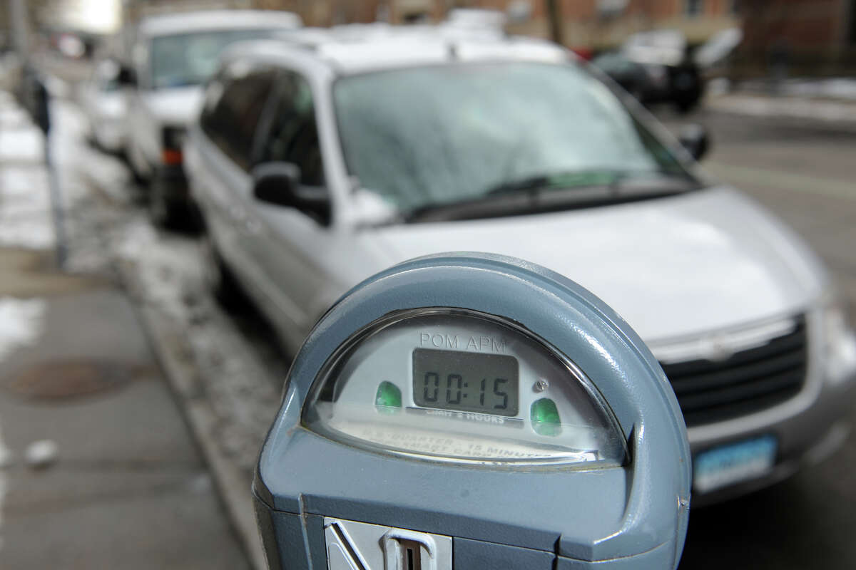 Parking meters in downtown Bridgeport only take quarters, which are good for fifteen minutes, seen here on Feb. 10, 2016.