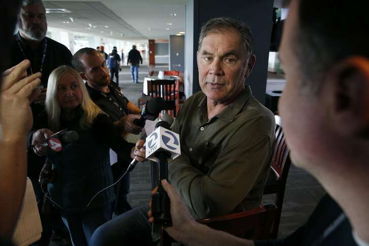 Manager Bruce Bochy meets with sports reporters at AT&T Park in San Francisco, Calif. on Friday, Feb. 12, 2016, in advance of the Giants' annual FanFest event.