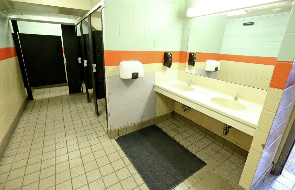 A view of the women's restroom in Alamo complex Monday Feb. 8, 2016.