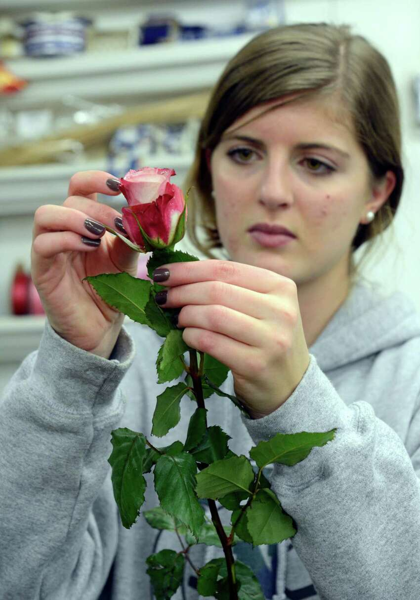 Isabel Nees of Norwalk check the petals of roses as she preps flowers for the big Valentine's Day rush at Springdale Florist & Greenhouses in Stamford on Feb. 12, 2016.