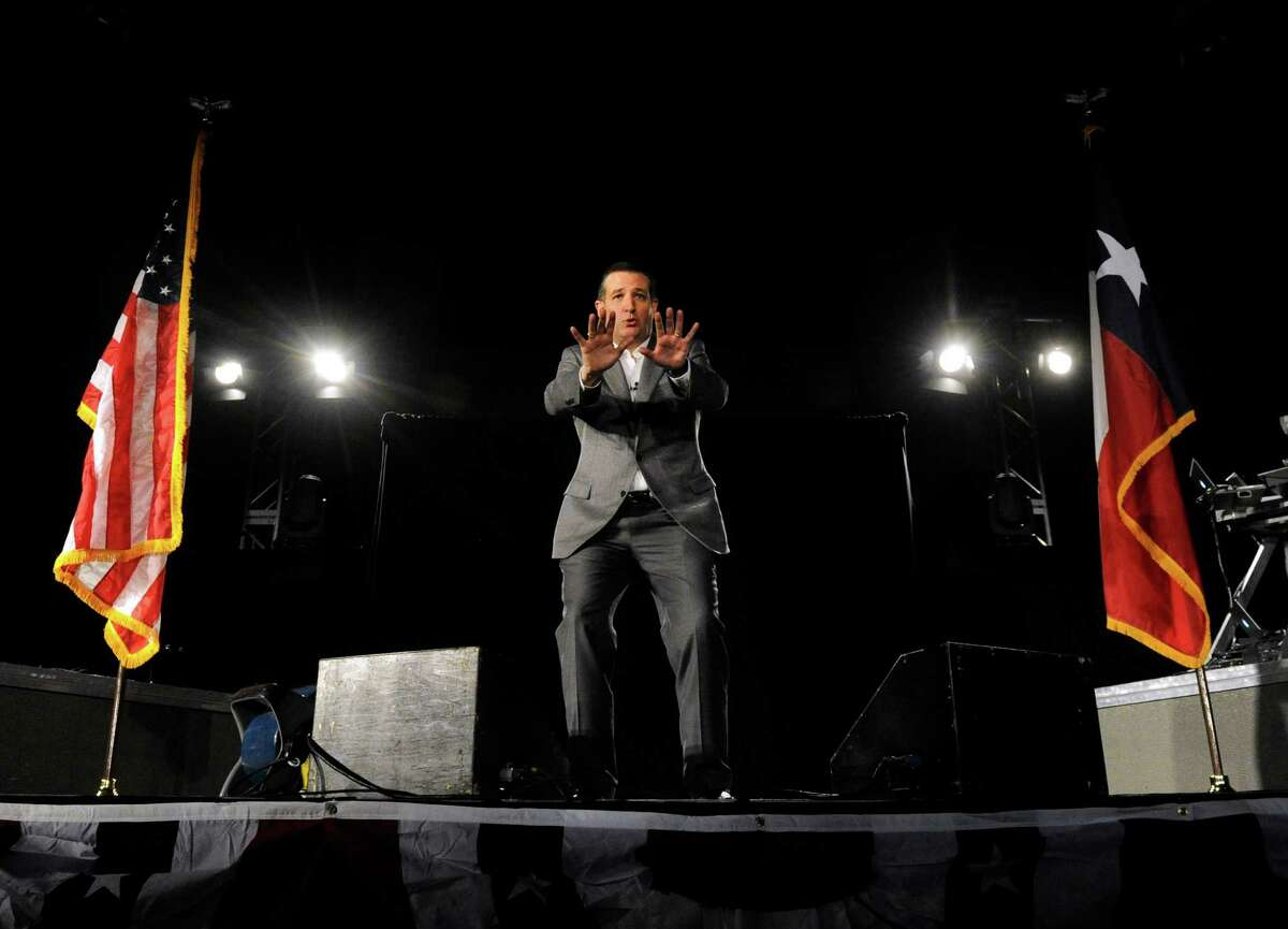 """Ronald W. Erdrich/Reporter-News U.S. Senator and presidential candidate Ted Cruz speaks during a rally Tuesday night Dec. 29, 2015 in Cisco. The """"Reigniting the Promise Community Rally"""" was sponsored by the Keep the Promise Super PAC and held at the Myrtle Wilks Community Center."""