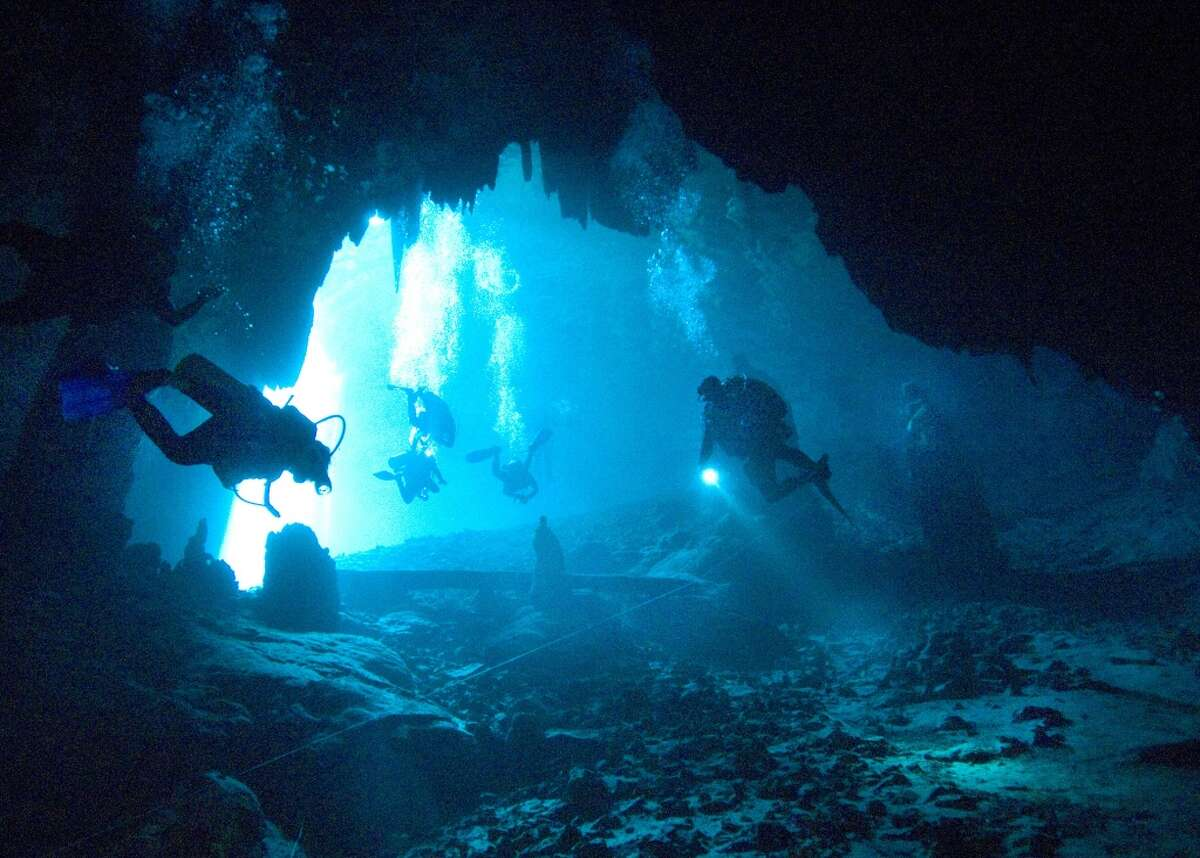 A team of archaeologists, lead by Guillermo de Anda explore a cenote in Yucatan, Mexico.