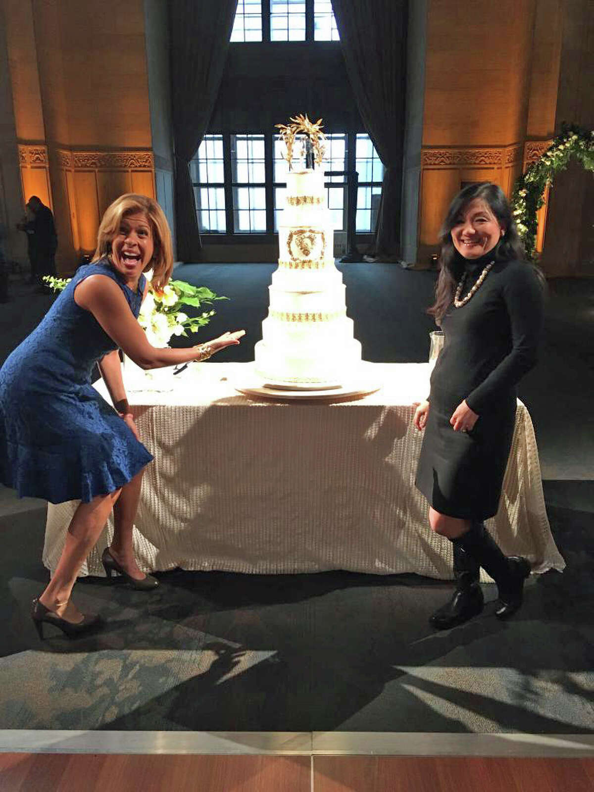 Today Show co-host Hoda Kotb with Ana Parzych of Ana Parzych Cakes and the cake she designed for the Valentine's segment on the Today Show on Friday.