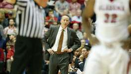 Texas A&M head coach Billy Kennedy looks on during the second half against Alabama on Feb. 10, 2016, in Tuscaloosa. Alabama won 63-62.