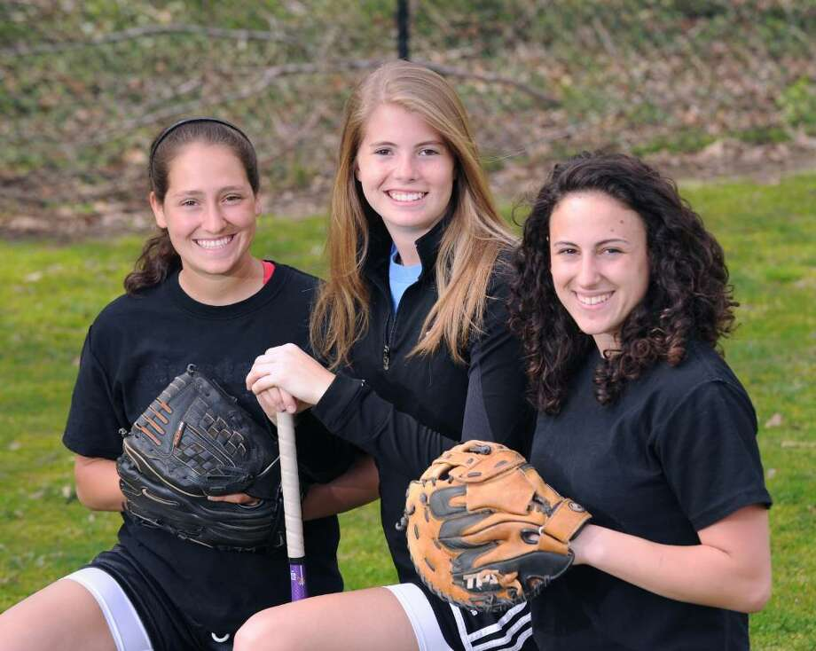Greenwich High School gilrs softball captains, left to right, Alyssa Lodato, Marie-Claire Bousquette and Alex LoGrasso, posed at GHS, April 6, 2010. Photo: Bob Luckey / Greenwich Time