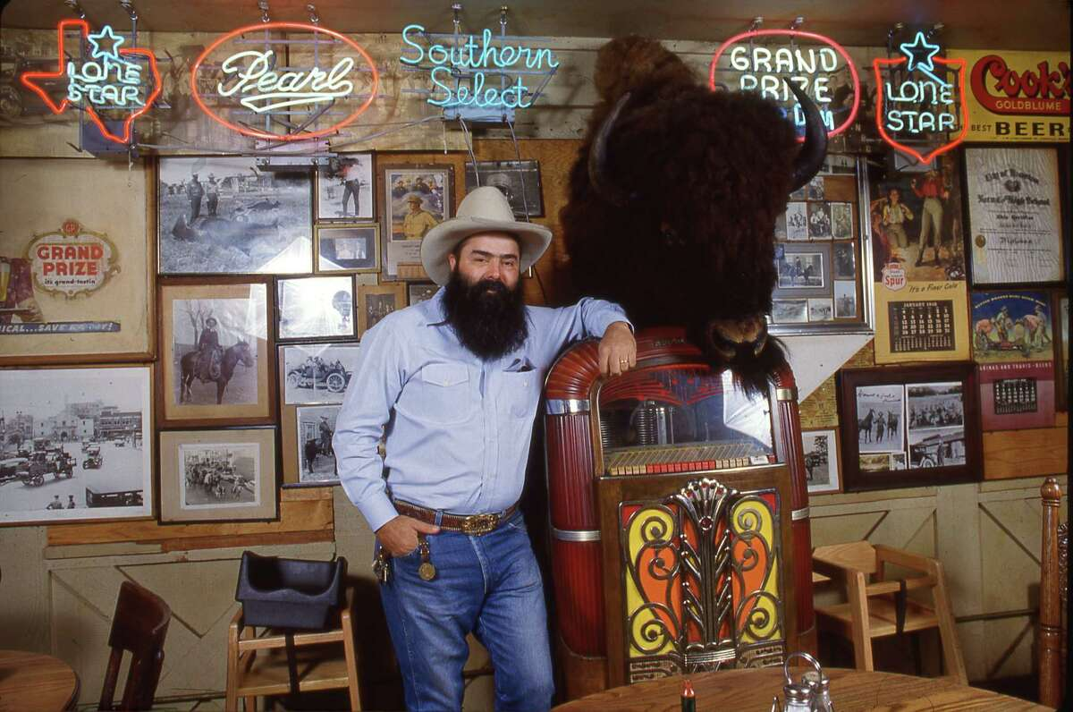 Jim Goode, Goode Company Bar-B-Q owner, seen inside his barbecue restaurant on Kirby in 1986.