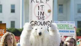 "Environmental activists, including one wearing a polar bear costume, protest the Obama administration's plans to allow new fossil fuel drilling on public lands and oceans, during a demonstration held by the ""Keep it in the Ground"" coalition in front of the White House in Washington, DC, September 15, 2015. AFP PHOTO / SAUL LOEB        (Photo credit should read SAUL LOEB/AFP/Getty Images)"