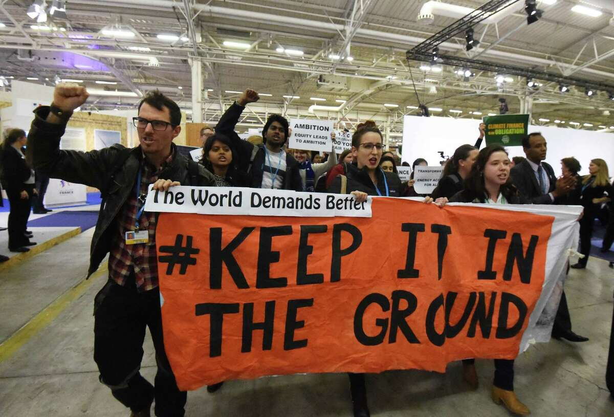 Activists of a non-governmental organization protest last December during the U.N. conference on climate change in Le Bourget, on the outskirts of Paris.