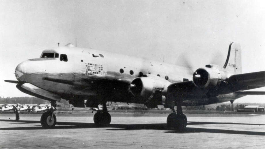 """The Douglas C-54 Skymaster was a military version of the DC-4, according to Boeing. It was ordered by the U.S. Army Air Forces in 1942 and the special version (VC-54C) became the first presidential aircraft. It was nicknamed """"Sacred Cow"""" by the press corps, according to Boeing. Photo: Courtesy The Boeing Company / 2016 Boeing Company"""