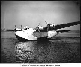 Shown here in 1938, the Boeing B-314 Clipper was a long-range flying boat that became the first Air Force One (albeit technically crewed by the U.S. Navy and Pan American Airlines) when President Franklin D. Roosevelt flew to Casablanca aboard one in January 1943, according to Boeing. This was the first time a sitting U.S. president flew overseas. Photo courtesy MOHAI, Seattle P-I Collection, image number 1986.5.182.6.
