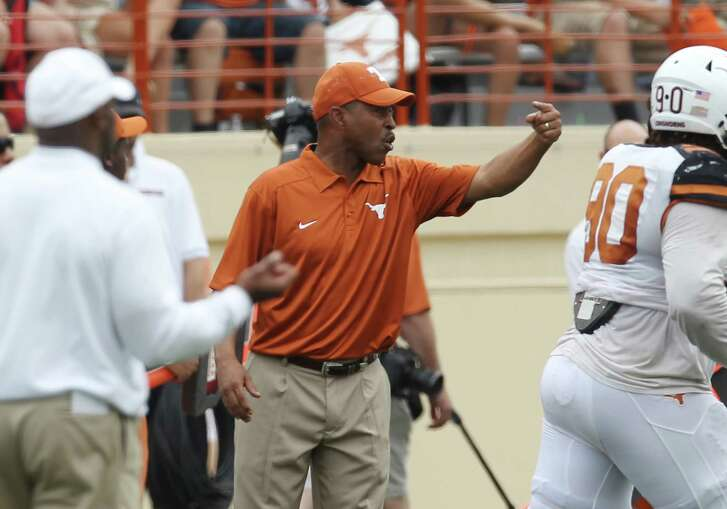 Defensive coordinator Vance Bedford, center, and linebackers coach Brian Jean-Mary are the last survivors from Charlie Strong's original staff at Texas.