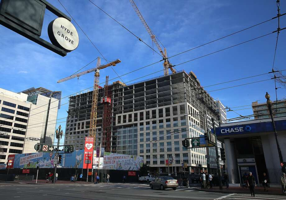 The Trinity Place construction project seen on Market St. on left side of 8th St. in San Francisco , California, Thursday,  February 11, 2016. Photo: Liz Hafalia, The Chronicle