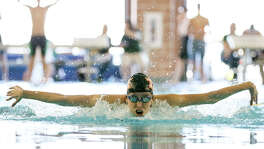 TMI's Elizabeth Holmes swims in the 100-yard butterfly during the TAPPS Division II state swimming championships at Josh Davis Natatorium on Friday, Feb. 12, 2016.  Holmes won the event with a time of 58.99 seconds.  She also took first place in the 200-yard freestyle.  MARVIN PFEIFFER/ mpfeiffer@express-news.net