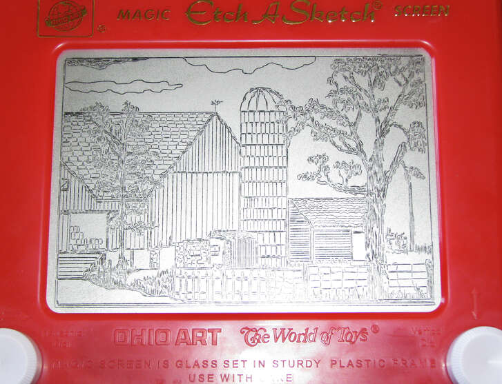 This Etch A Sketch drawing was made in 2008 by artist Andy Kingston.