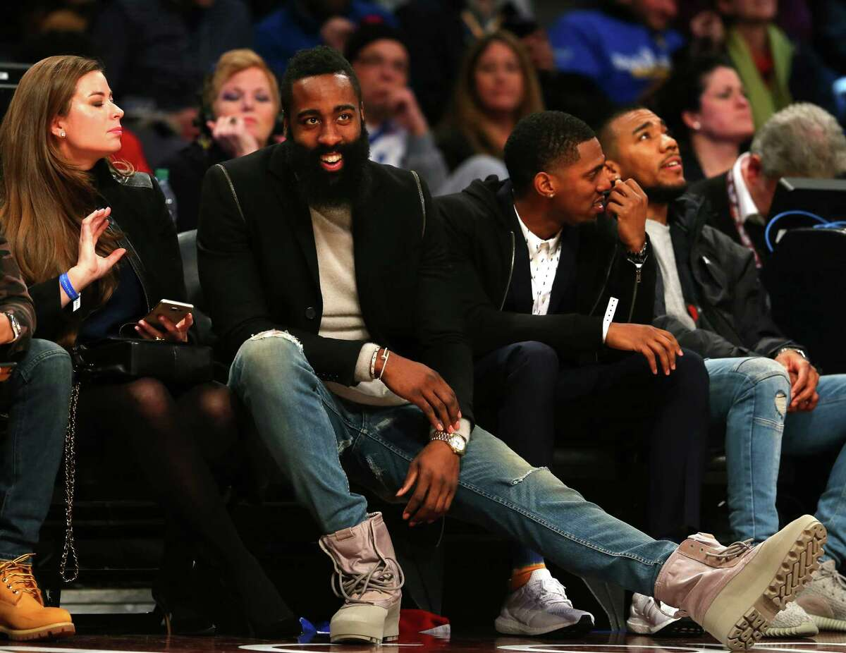 TORONTO, ON - FEBRUARY 12: 2016 NBA All Star James Harden of the Houston Rockets looks on in the second half between the World team and United States team during the BBVA Compass Rising Stars Challenge 2016 at Air Canada Centre on February 12, 2016 in Toronto, Canada. NOTE TO USER: User expressly acknowledges and agrees that, by downloading and/or using this Photograph, user is consenting to the terms and conditions of the Getty Images License Agreement.