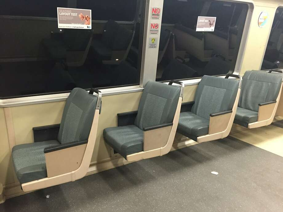BART has replaced the double seats in 3 percent of cars with single seats to relieve overcrowding, officials said. Photo: Jenna Lyons