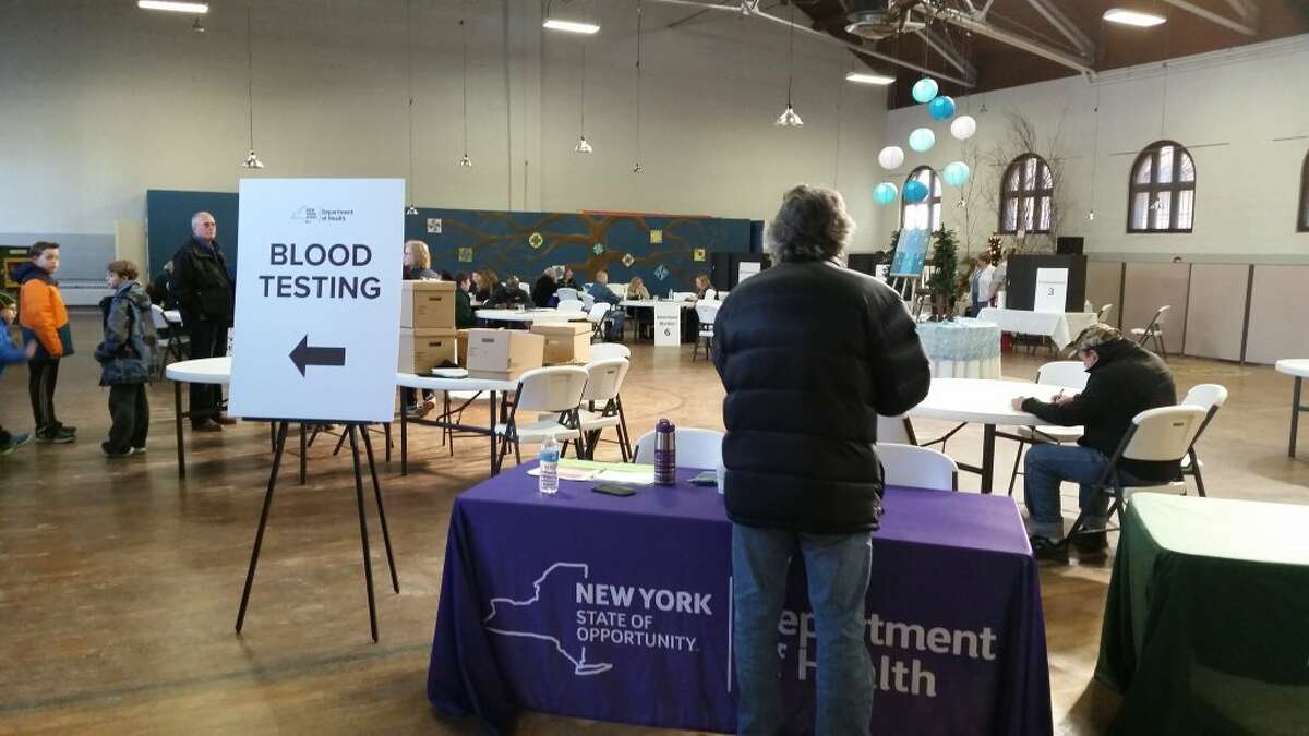 New York state Health Department and Department of Environmental Conservation officials are on hand Saturday, Feb. 13, 2016, at the HAYC3 Armory in Hoosick Falls to meet with community members and offer blood and well-water testing. (Dennis Yusko/Times Union)