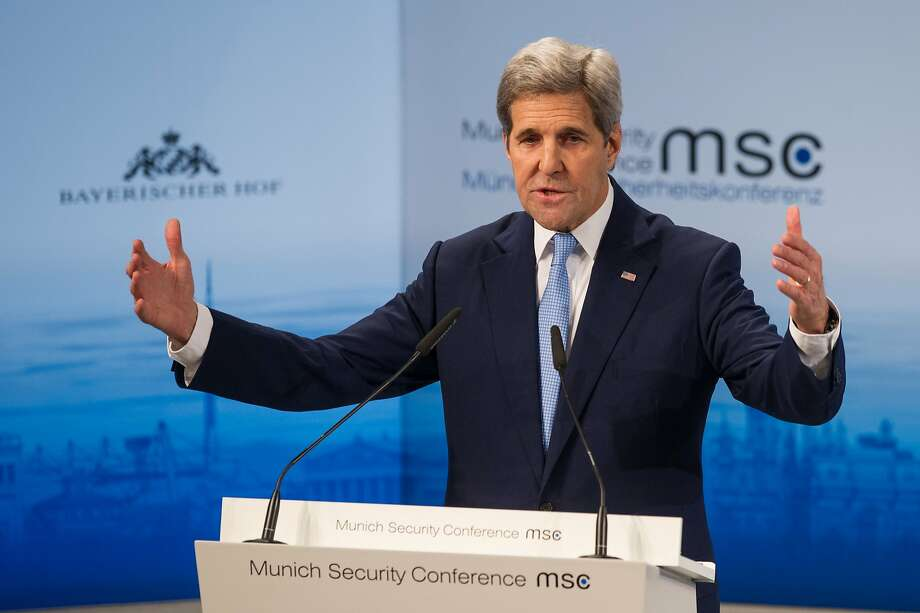 Secretary of State John Kerry faults Russia in his speech to the Munich Security Conference. Photo: Lennart Preiss, Getty Images