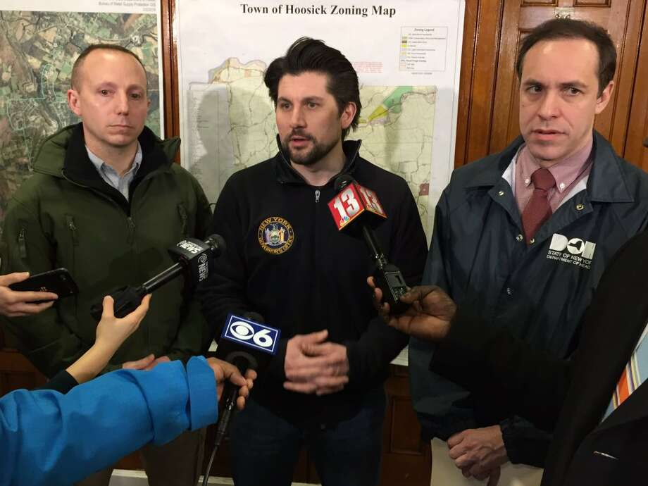 (l-r) Department of Environmental Conservation Acting Commissioner Basil Seggos, Director of State Operations  Jim Malatras and Department of Health Commissioner Howard Zucker address pollution of the public water supply in Hoosick Falls on Saturday, Feb. 13, 2016, at an informational event held at the HAYC3 Armory in Hoosick Fall, N.Y. (Cindy Schultz/Times Union)