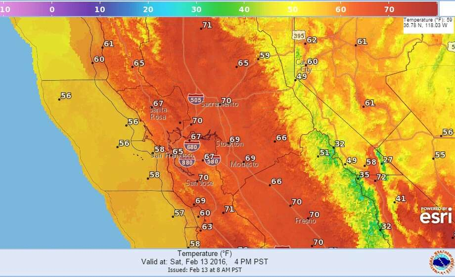 The San Francisco Bay Area could see record-high temperatures, forecasters said Saturday. Photo: NOAA