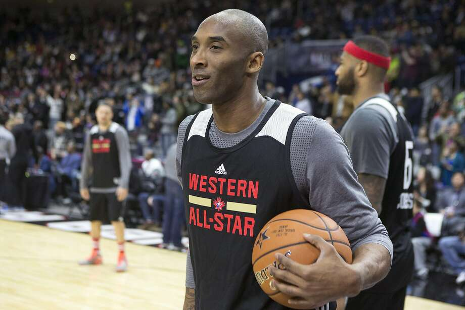 Kobe Bryant enjoys himself Saturday during the practice of Western Conference All-Stars. The Lakers star will start at shooting guard in his 18th and final All-Star Game. Photo: Chris Young, Associated Press
