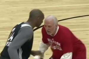 Gregg Popovich defends, locks down Kobe Bryant at All-Star Game practice - Photo