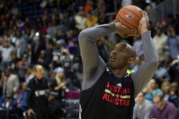 Western Conference's Kobe Bryant, of the Los Angeles Lakers, lines up a shot during practice at the NBA All-Star Game in Toronto on Saturday, Feb. 13, 2016. (Chris Young/The Canadian Press via AP) MANDATORY CREDIT
